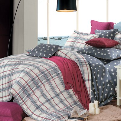 Oxford 4 Piece Reversible Duvet Set Size: King