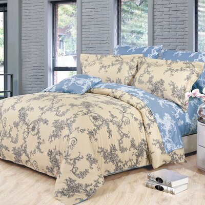 Renaissance 4 Piece Reversible Duvet Set Size: Queen