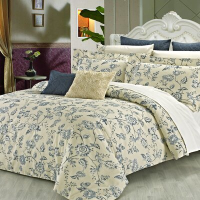 Wedgewood 3 Piece Reversible Duvet Cover Set Size: Queen
