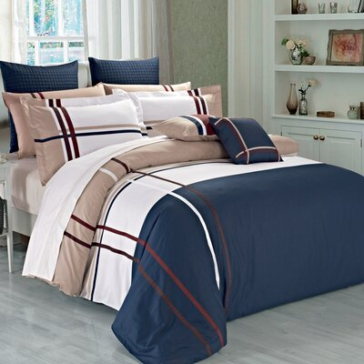 Wilson 3 Piece Reversible Duvet Cover Set Size: Queen