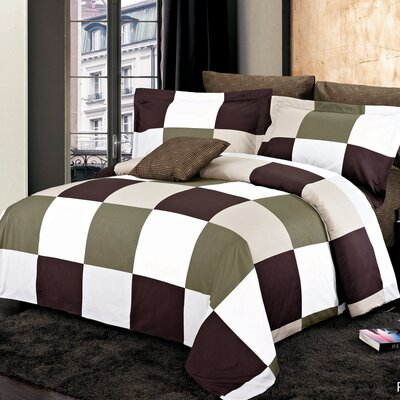 Park Reversible Duvet Set Size: King, Color: Brown