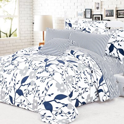 Cynthia 4 Piece Reversible Duvet Cover Set Size: King