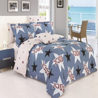 Darius 4 Piece Reversible Duvet Cover Set Size: Queen
