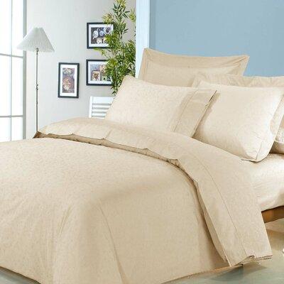Isabelle Jacquard 3 Piece Duvet Cover Set Size: King, Color: Cream
