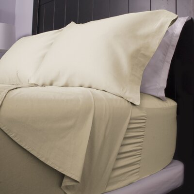 300 Thread Count Cotton Sateen Sheet Set Color: Vanilla, Size: Twin Extra Long