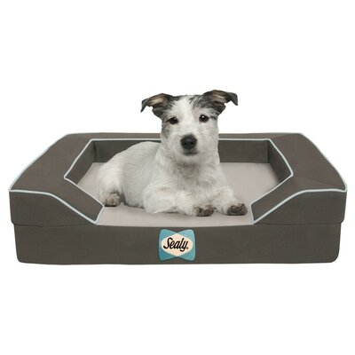 Sealy Lux Bolster Dog Bed Size: Small (25 L x 20 W), Color: Max-Gray
