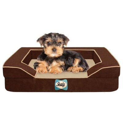 Sealy Lux Bolster Dog Bed Size: Small (25 L x 20 W), Color: Bella-Brown