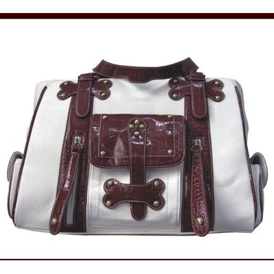Backbone Pet Faux Leather Handbag Pet Carrier in White and Burgundy at Sears.com