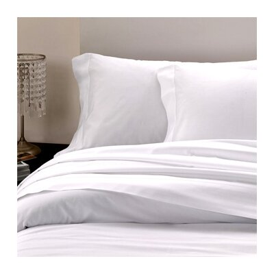 Raso Hemstitch 300 Thread Count Cotton Flat Sheet Size: Queen, Color: White