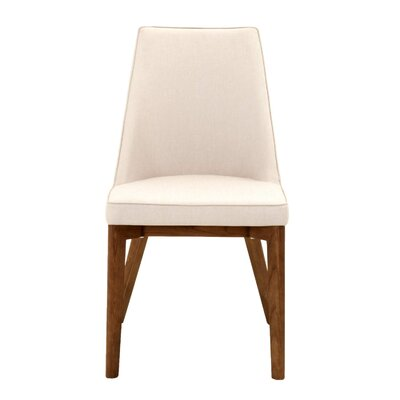 Berner Upholstered Dining Chair in Antique White (Set of 2) Leg Color: Walnut