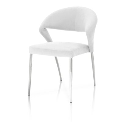Desirat Dining Side Chair (Set of 2) Upholstery: White, Finish: Chrome