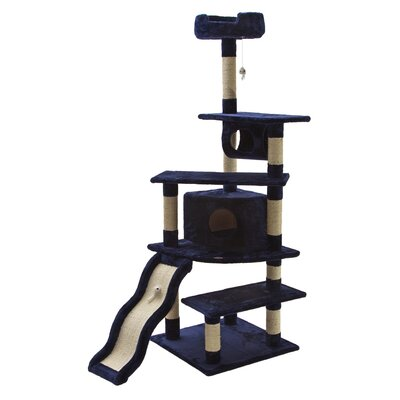 70 Faux Fur Cat Tree Color: Blue
