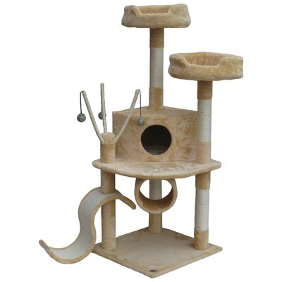 55 Whiskers Cat Tree Color: Beige