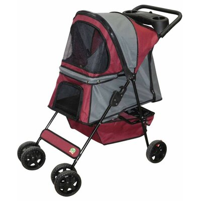 Standard Pet Stroller Color: Maroon / Silver