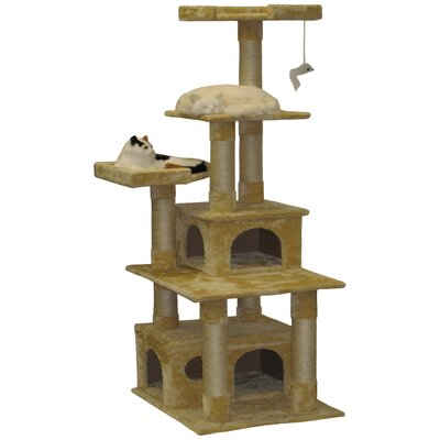 67 Condo House Cat Tree Color: Beige