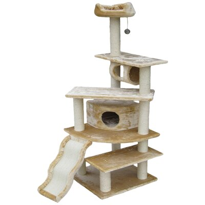 70 Faux Fur Cat Tree Color: Beige