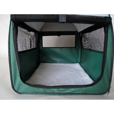 Soft Sided Pet Crate with Sheepskin Mat Size: Small (26 H x 22 W x 32 L)