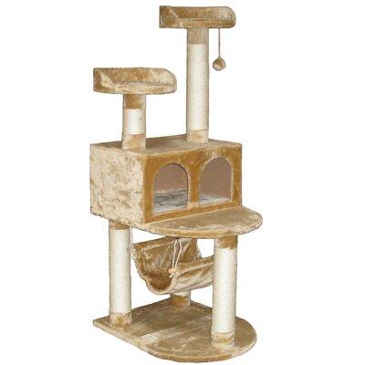 54 Faux Fur Cat Tree Color: Beige