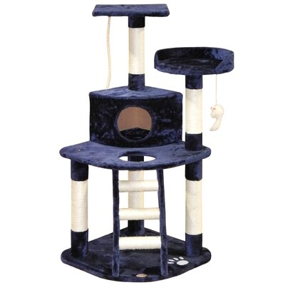 48 Faux Fur Cat Tree Color: Blue