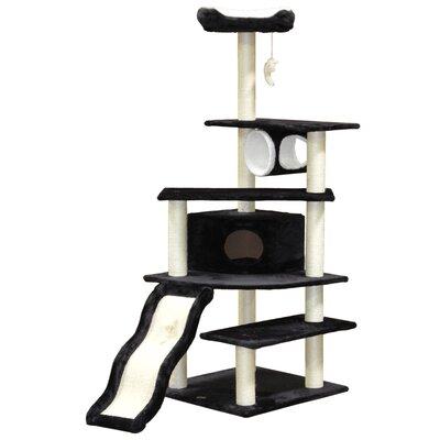70 Faux Fur Cat Tree Color: Black