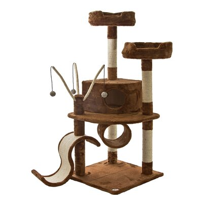 55 Whiskers Cat Tree Color: Brown