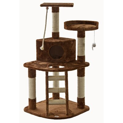 47 Cat Tree with Ladder & Rope Color: Brown