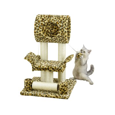 28 Faux Fur Cat Tree Color: Leopard Print