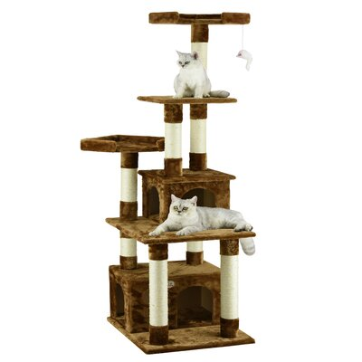 67 Condo House Cat Tree Color: Brown
