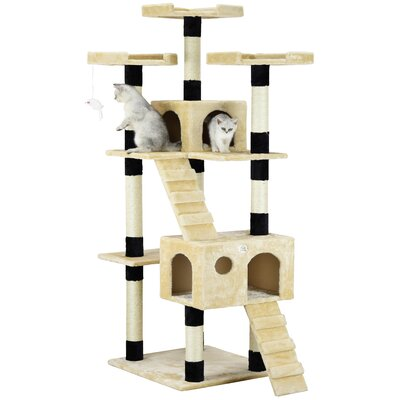 72 Mya Cat Tree Color: Beige / Black