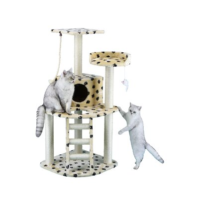 47 Cat Tree with Ladder & Rope Color: Paw Print