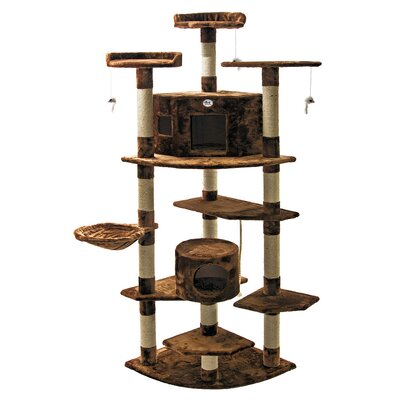 80 Cat Tree Color: Brown