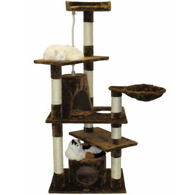 62 Cat Tree Color: Brown