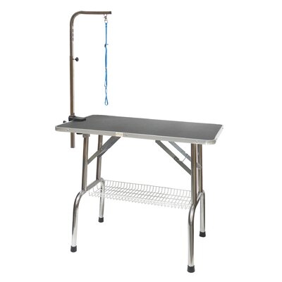 Heavy Duty Stainless Steel Dog Grooming Table with Arm Size: 30 H x 48 W x 23.5 D