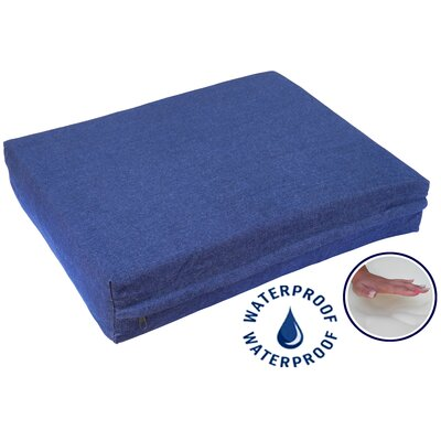 "Orthopedic Dog Pillow with Waterproof Cover Size: Small (25"" L x 20"" W), Color: Denim"