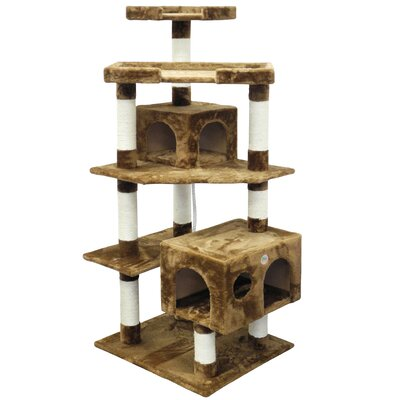 61 Cat Tree Color: Brown