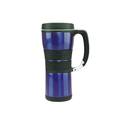 AutoSeal 16 oz Stainless Steel Double Wall Vacuum Insulated Handled Mug with Carabiner Clip in ...