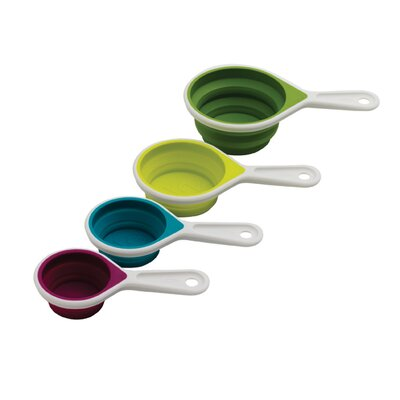SleekStor Pinch and Pour Collapsible Cup Set Color: Arugula/Wasabi/Raddicchio/Curacao 102-250-095