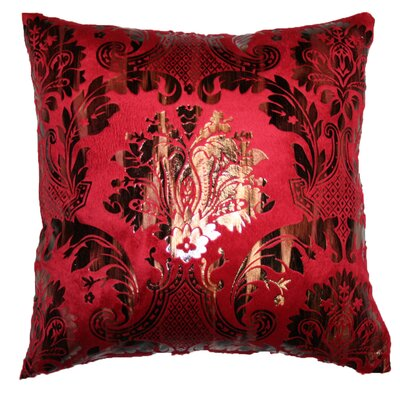 Damask Design Decorative Throw Pillow Color: Burgundy