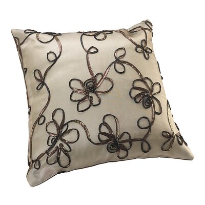 Venetian Vintage Embroidered Floral Design Decorative Pillow Cover Color: Brown