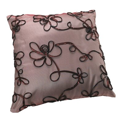 Venetian Vintage Embroidered Floral Design Decorative Pillow Cover Color: Burgundy