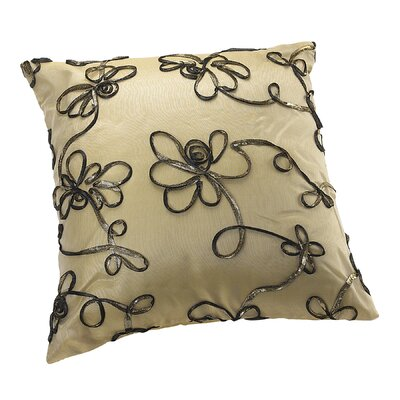 Venetian Vintage Embroidered Floral Design Decorative Pillow Cover Color: Gold