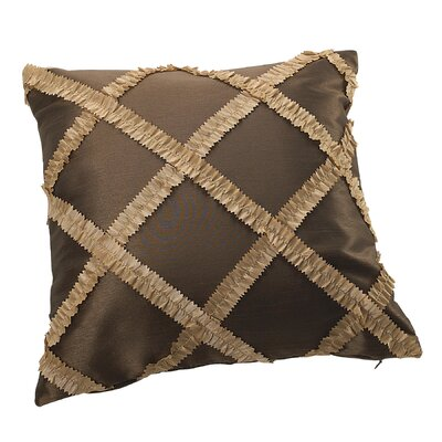 Royal Vintage Embroidered Diamond Design Decorative Pillow Cover Color: Brown