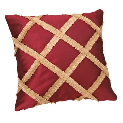 Royal Vintage Embroidered Diamond Design Decorative Pillow Cover Color: Burgundy