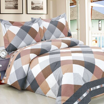 French Beige Grey Checks Luxurious 6 Piece Duvet Cover Set Size: Full / 54