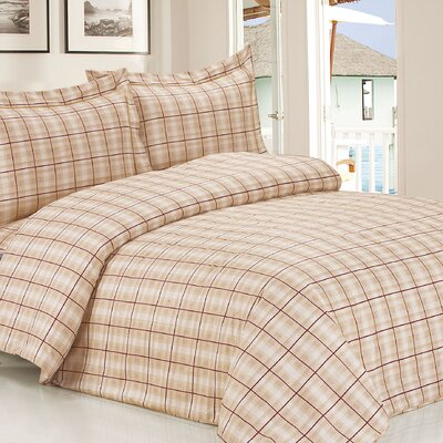 French Soft Brown Plaid Luxurious 6 Piece Duvet Cover Set Size: Twin / 39