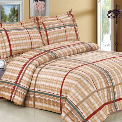 French Brown Plaid Luxurious 6 Piece Duvet Cover Set Size: Twin / 48