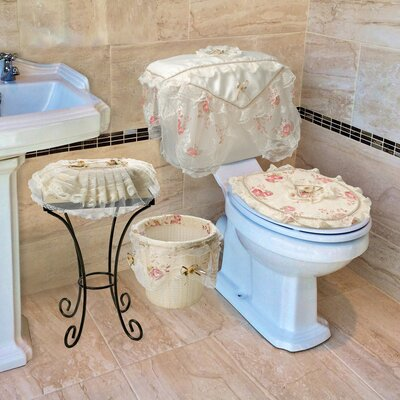 Eden Lace 4-Piece Bathroom Set Color: Beige