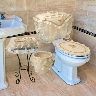 Eden Lace 4-Piece Bathroom Set Color: Gold