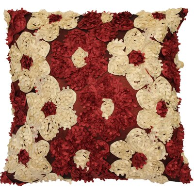 Rosetta Silky Decorative Cushion Cover Color: Burgundy