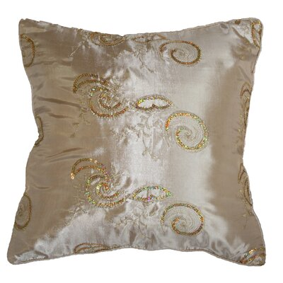 Silky Indiana Embroidered Sequins Decorative Throw Pillow Color: Beige